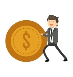 Happy businessman pushing coin icon vector