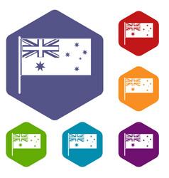 Australian flag icons set hexagon vector