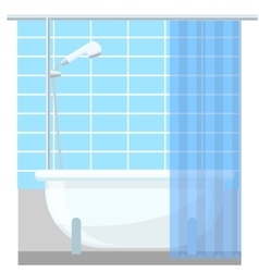 Bathroom interior poster or promo flyer bathtub in vector