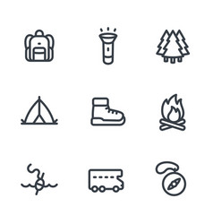 Camping hiking icons set in linear style on white vector