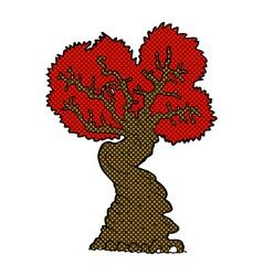 Comic cartoon big red old tree vector