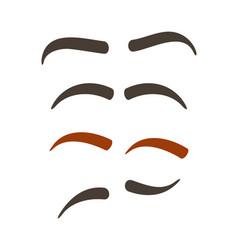 Comic eyebrow expression set vector