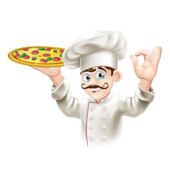 cook holding a tasty pizza vector image