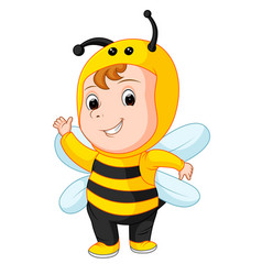 cute baby wearing a bee suit vector image