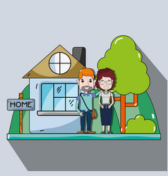 Cute couple in the house with casual clothes vector