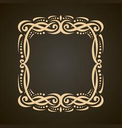 decorative golden frame vector image vector image