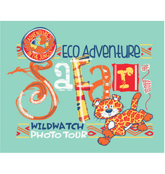 ecologic safari wild watching in a cute jungle vector image vector image