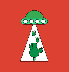 Flat icon design collection flying saucer and tree vector