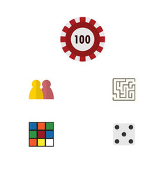Flat icon entertainment set of labyrinth cube vector
