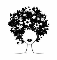 floral hairstyle vector image vector image