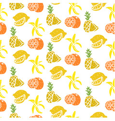 fruit seamless pattern banana lemon orange vector image