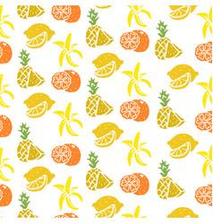 Fruit seamless pattern banana lemon orange vector