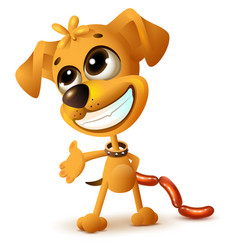 Funny yellow puppy hides sausages vector
