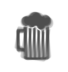 Glass of beer sign gray icon shaked at vector