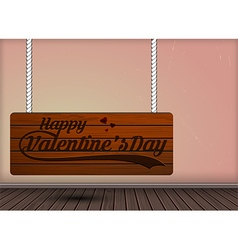 Happy valentine day on wooden hanging signs design vector