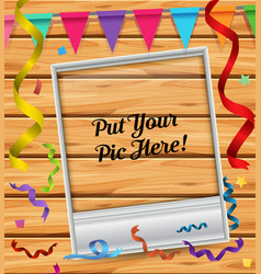 Picture frame on wooden board vector