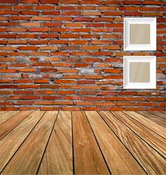 Room interior vintage with red brick wall and wood vector image vector image
