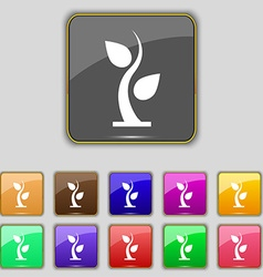 Sprout icon sign set with eleven colored buttons vector