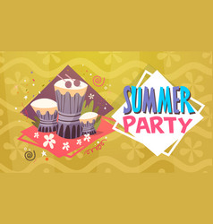 Summer party vacation sea travel retro banner vector