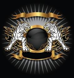 Tiger gold emblem vector image
