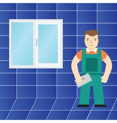 Tiles and tiler in the bathroom vector