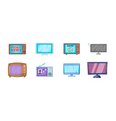 tv icon set cartoon style vector image