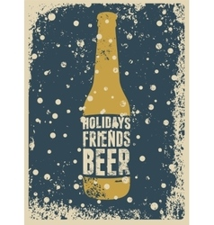 Typographic retro grunge Christmas beer poster vector image