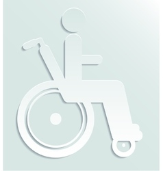 White paper icon disabled person in wheelchair vector
