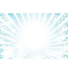 Winter sunburst with sun flare and snowflake vector