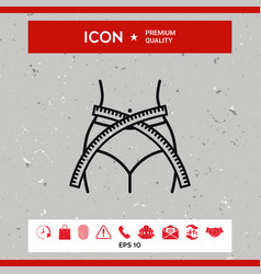 women waist with measuring tape weight loss diet vector image vector image