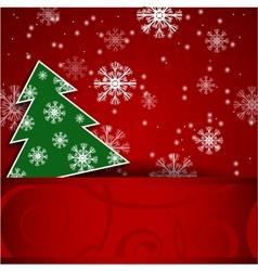 Christmas tree horizontal postcard vector