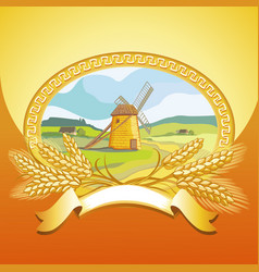 Mill and wheat vector