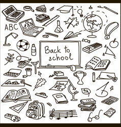 set back to school sketch book brush vector image