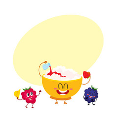 Funny bowl of cottage cheese and raspberry vector