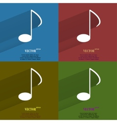 Color set music elements notes web icon flat vector