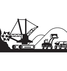 Heavy mining machinery vector