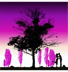 Couple silhouette big tree old vector