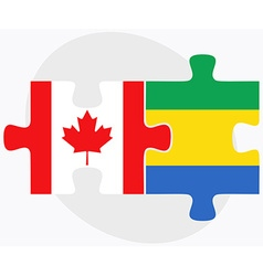 Canada and gabon flags vector