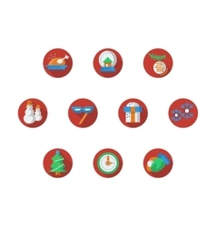 Round red Christmas and New Year icons set vector image