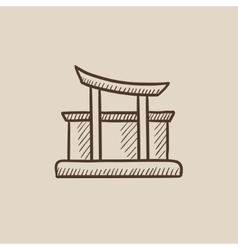 Torii gate sketch icon vector