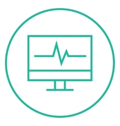 Heart beat monitor line icon vector image