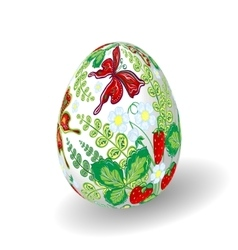 Easter egg with bright floral pattern strawberry vector
