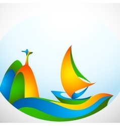 Sign sailing boat with symbol in colors of the vector