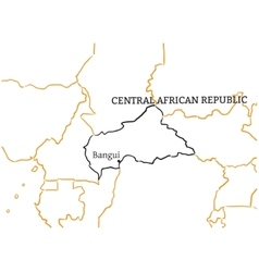 Central african republic hand-drawn sketch map vector