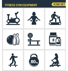 Icons set premium quality of fitness gym equipment vector