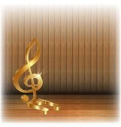 Golden treble clef on wooden background vector