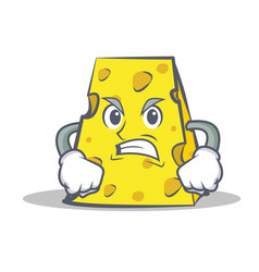 Angry cheese character cartoon style vector