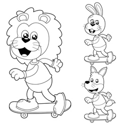 Animals skateboard black and white vector image