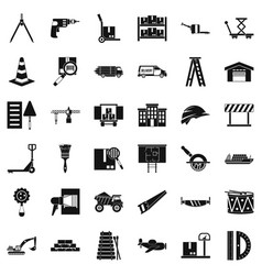Camion icons set simple style vector