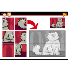Cartoon cat jigsaw puzzle game vector